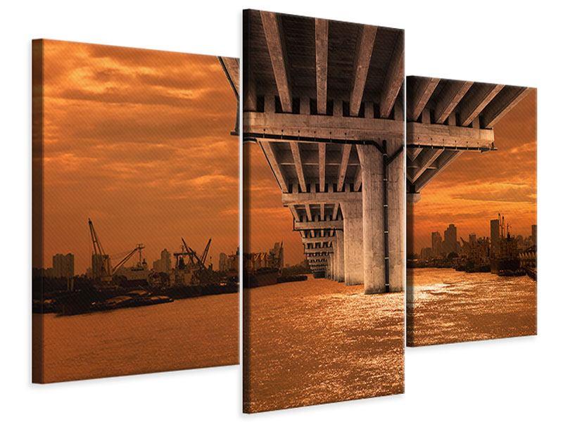 Leinwandbild 3-teilig modern Die Brücke