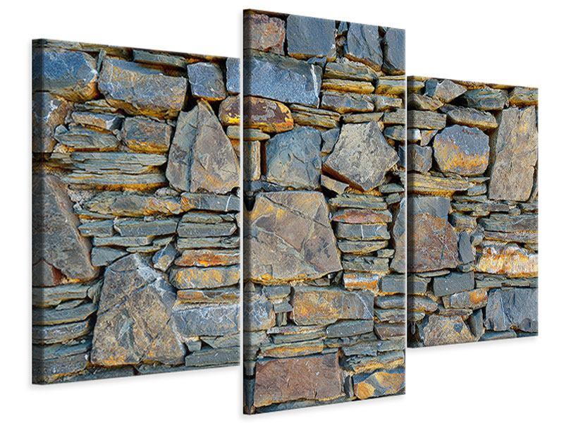 Leinwandbild 3-teilig modern Natürliche Steinmauer