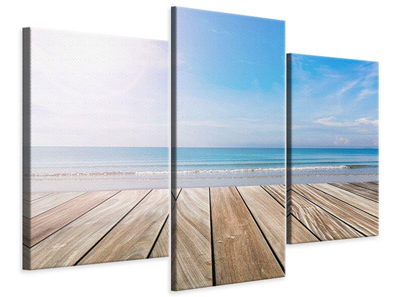 Leinwandbild 3-teilig modern Das schöne Strandhaus