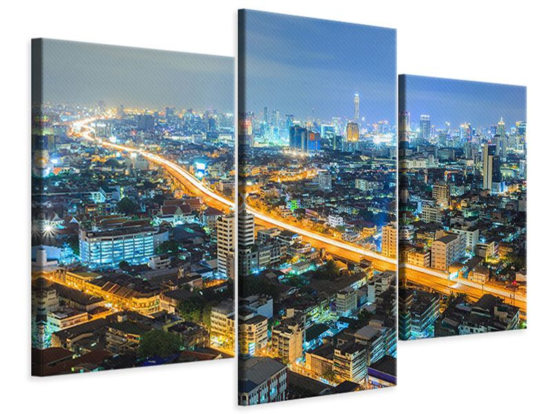 Leinwandbild 3-teilig modern Skyline Bangkok im Fieber der Nacht