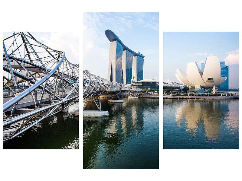 Leinwandbild 3-teilig modern Singapur
