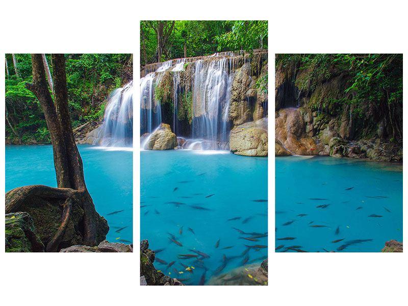 Leinwandbild 3-teilig modern Naturerlebnis Wasserfall