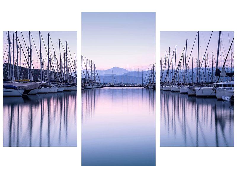 Leinwandbild 3-teilig modern Yachthafen