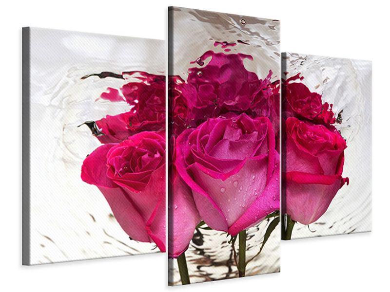 Leinwandbild 3-teilig modern Die Rosenspiegelung
