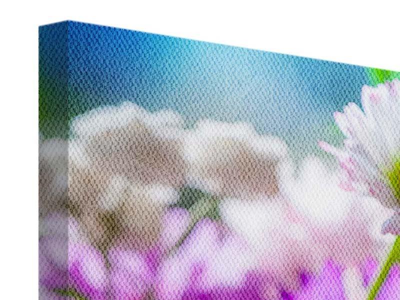 Leinwandbild 3-teilig modern XXL Gartenblumen