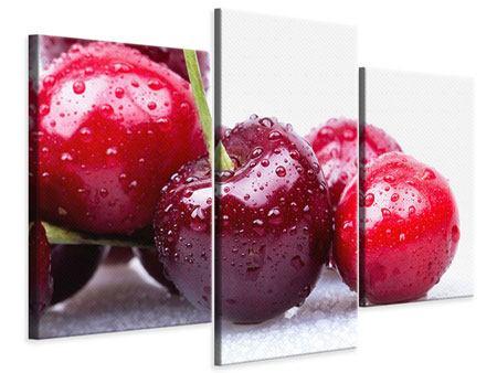 Leinwandbild 3-teilig modern Kirschen