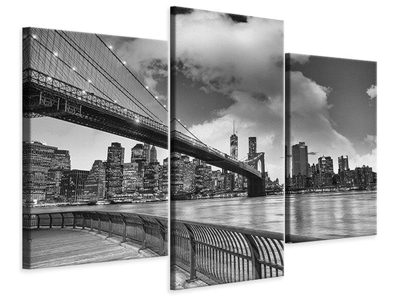 Leinwandbild 3-teilig modern Skyline Schwarzweissfotografie Brooklyn Bridge NY