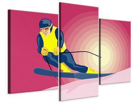 Leinwandbild 3-teilig modern Retro-Skifahrer
