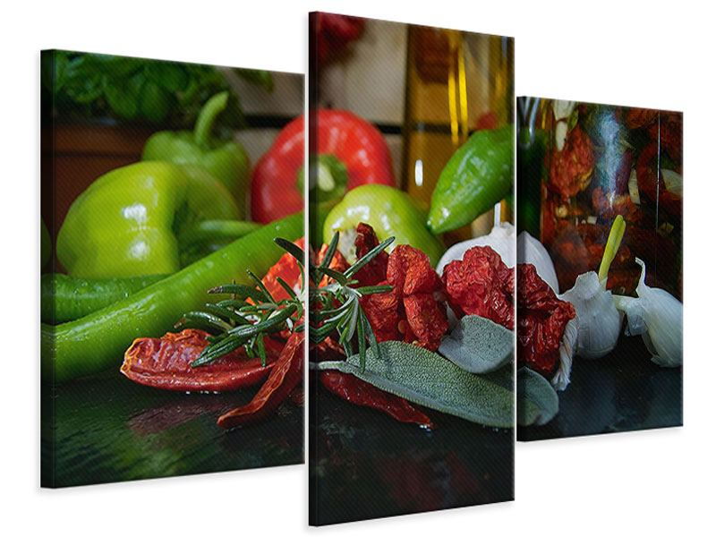 Leinwandbild 3-teilig modern Mediterranes Gemüse