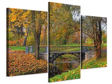 Leinwandbild 3-teilig modern Romantischer Park
