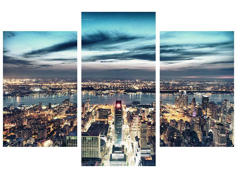 Leinwandbild 3-teilig modern Skyline Manhattan Citylights