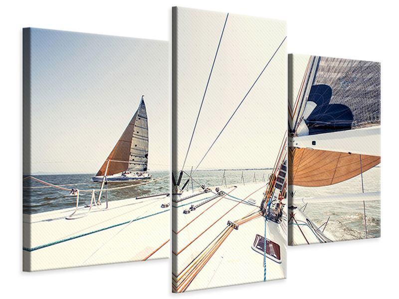 Leinwandbild 3-teilig modern Segelyacht