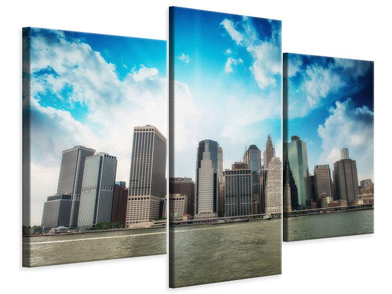 Leinwandbild 3-teilig modern Skyline Lower Manhattan