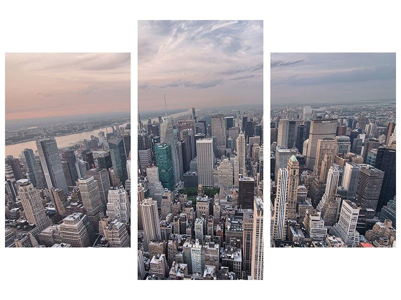 Leinwandbild 3-teilig modern Skyline Blick über Manhattan