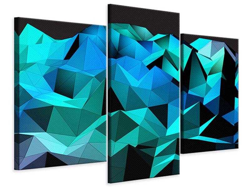 Leinwandbild 3-teilig modern 3D-Diamonds
