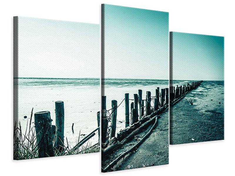 Leinwandbild 3-teilig modern Das Wattenmeer