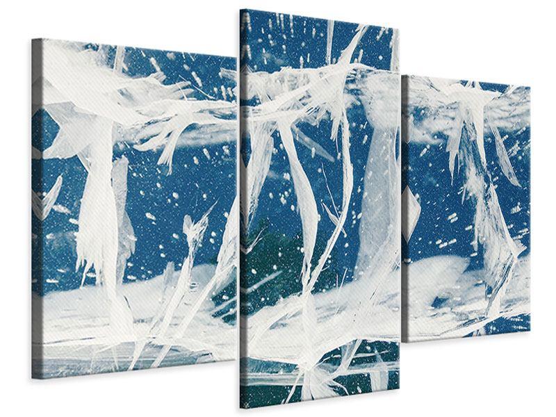 Leinwandbild 3-teilig modern Eiskristalle