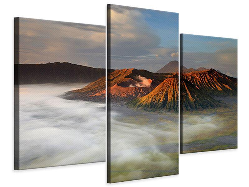 Leinwandbild 3-teilig modern Der Bromo Vulkan