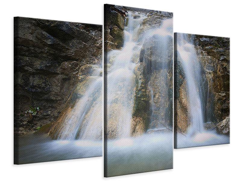 Leinwandbild 3-teilig modern Imposanter Wasserfall
