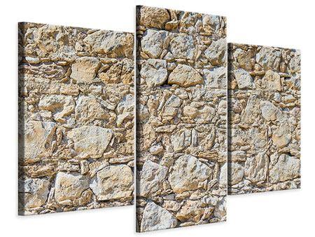 Leinwandbild 3-teilig modern Sandsteinmauer