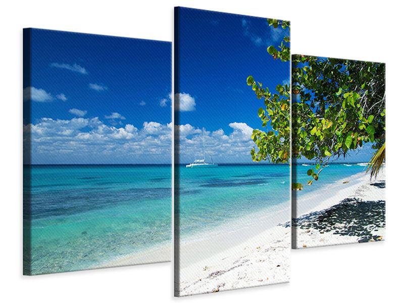 Leinwandbild 3-teilig modern Happy Beach