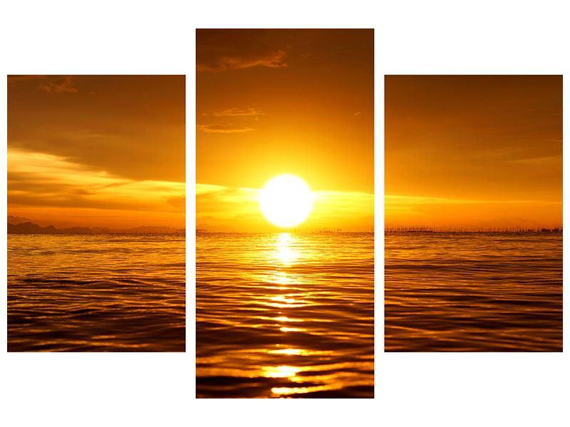 Leinwandbild 3-teilig modern Glühender Sonnenuntergang am Wasser