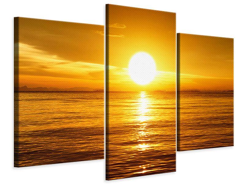 Leinwandbild 3-teilig modern Traumhafter Sonnenuntergang
