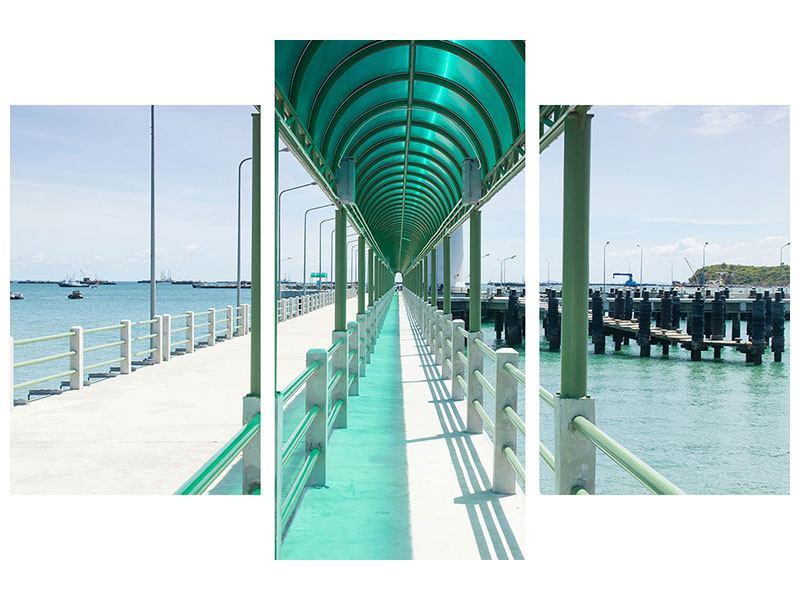 Leinwandbild 3-teilig modern Die Brücke am Meer