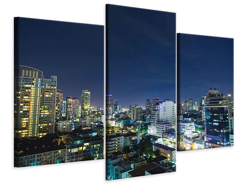 Leinwandbild 3-teilig modern Skyline Nachts in Bangkok