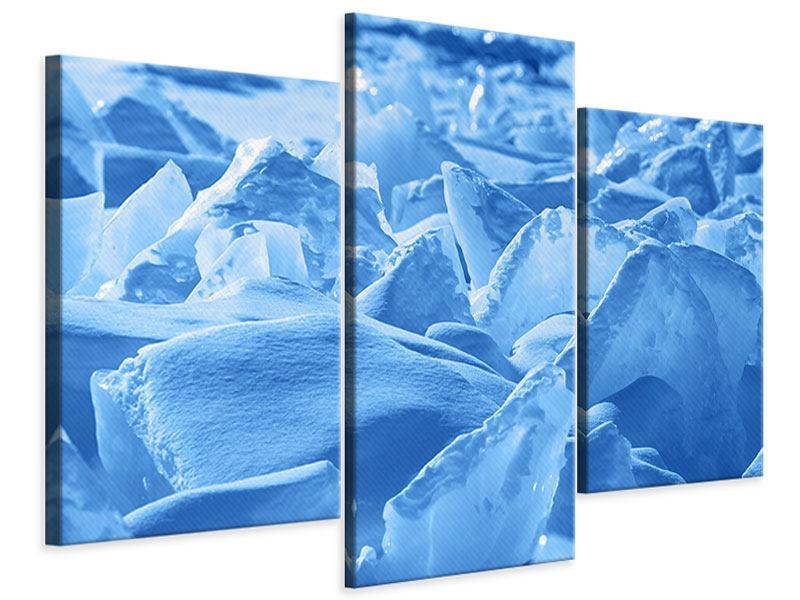 Leinwandbild 3-teilig modern Eis des Baikalsees
