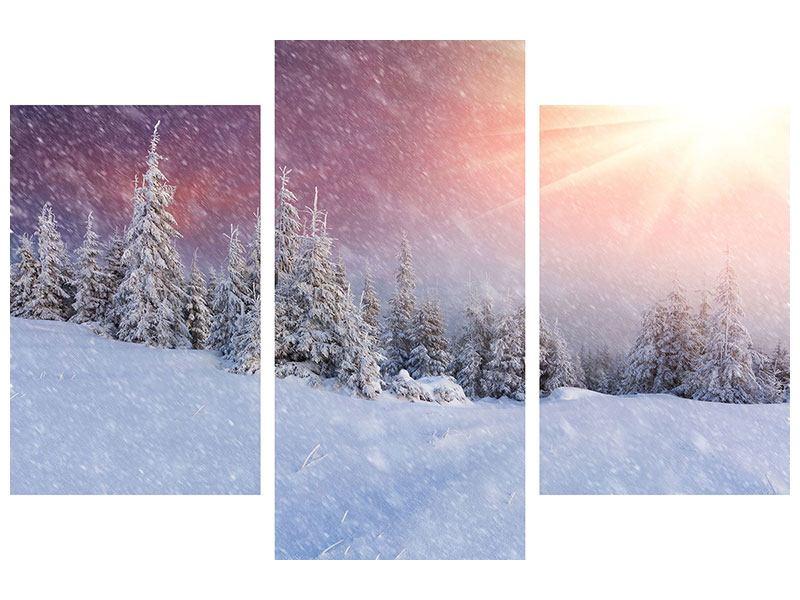 Leinwandbild 3-teilig modern Mystischer Schneesturm