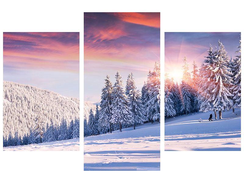 Leinwandbild 3-teilig modern Winterlandschaft