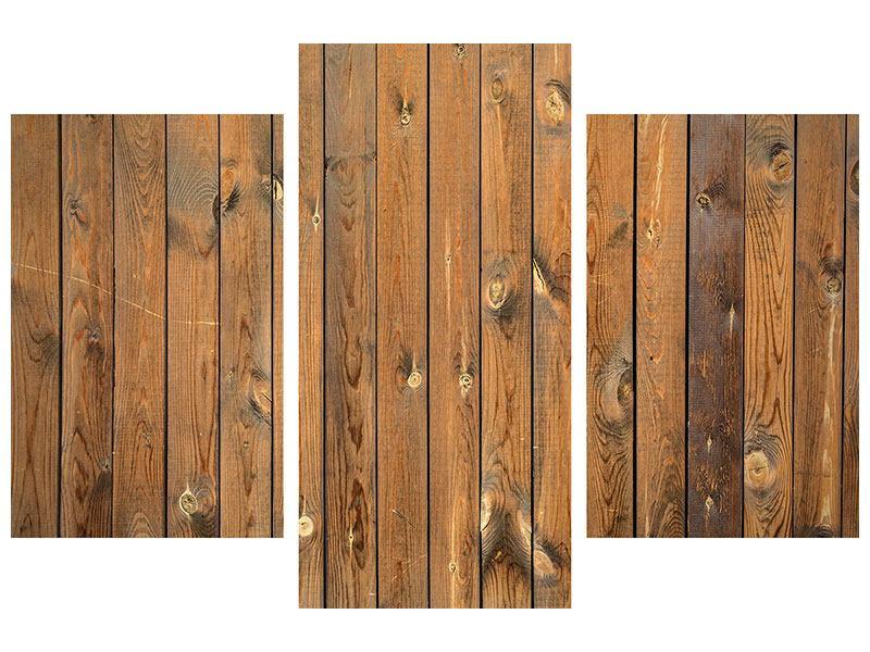 Leinwandbild 3-teilig modern Bretterwand