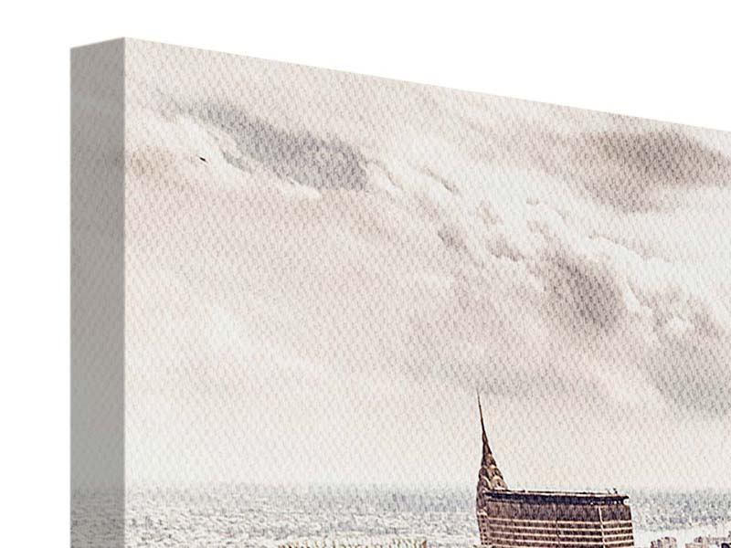 Leinwandbild 3-teilig modern Skyline Über den Dächern Manhattans