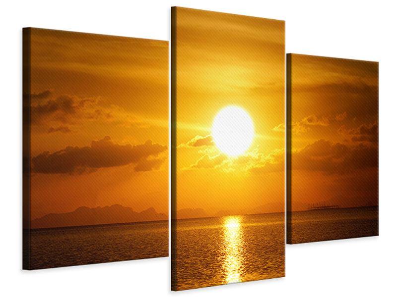 Leinwandbild 3-teilig modern Sonnenuntergang See
