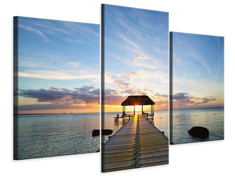 Leinwandbild 3-teilig modern Romantik auf Mauritius