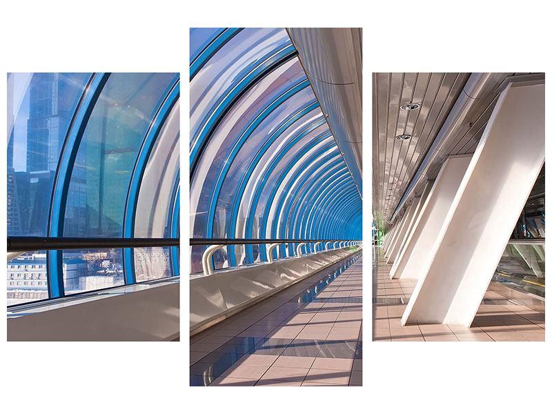 Leinwandbild 3-teilig modern Hypermoderne Brücke