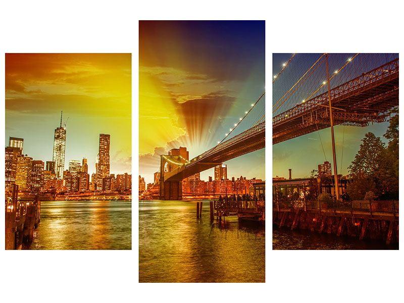 Leinwandbild 3-teilig modern Skyline Brooklyn Bridge NY