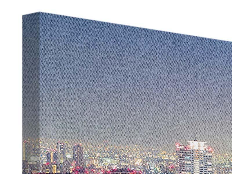 Leinwandbild 3-teilig modern Skyline Osaka bei Sonnenuntergang