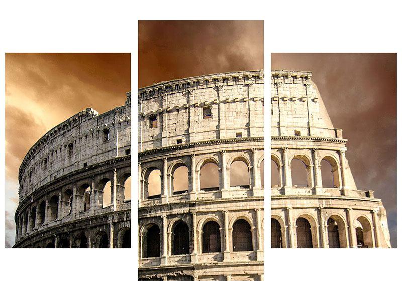 Leinwandbild 3-teilig modern Kolosseum Rom