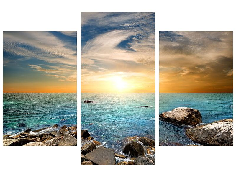 Leinwandbild 3-teilig modern Meerwasser