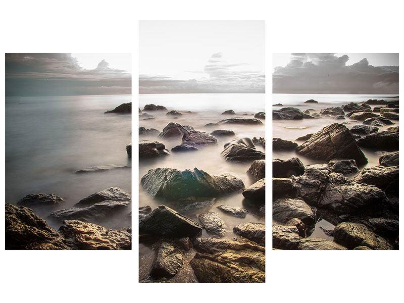 Leinwandbild 3-teilig modern Steine am Strand