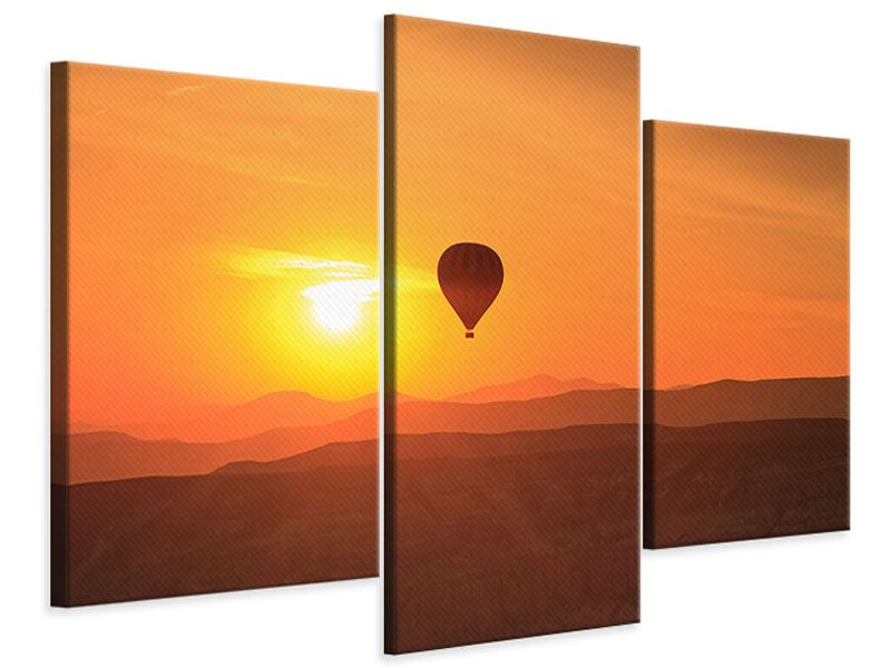 Leinwandbild 3-teilig modern Heissluftballon bei Sonnenuntergang