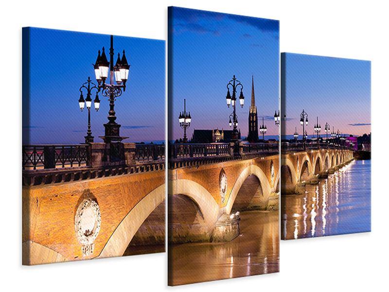 Leinwandbild 3-teilig modern Pont De Pierre bei Sonnenuntergang