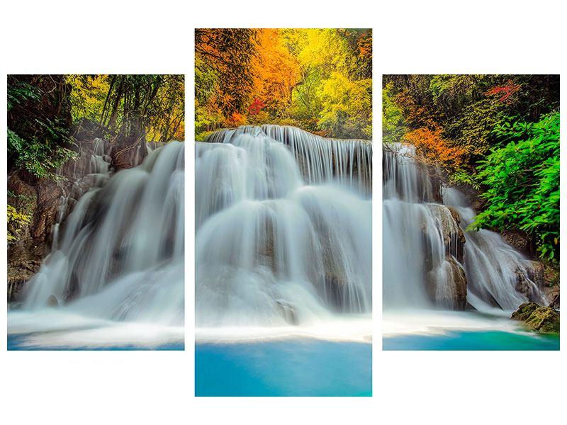 Leinwandbild 3-teilig modern Fallendes Gewässer
