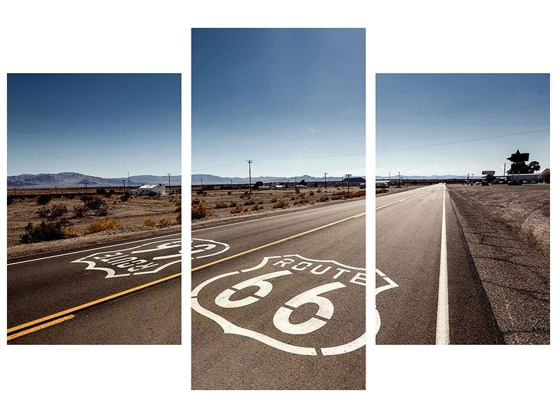 Leinwandbild 3-teilig modern Route 66