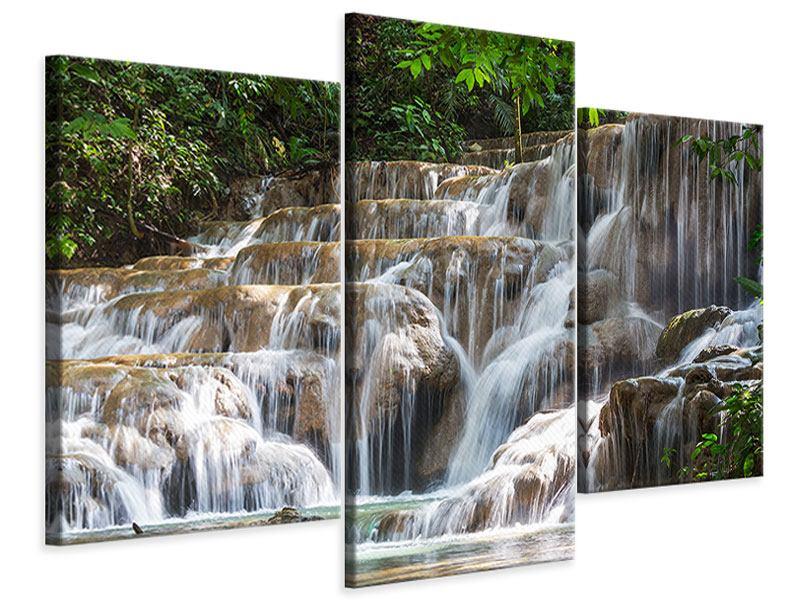 Leinwandbild 3-teilig modern Mexikanischer Wasserfall