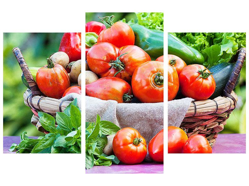 Leinwandbild 3-teilig modern Gemüsekorb