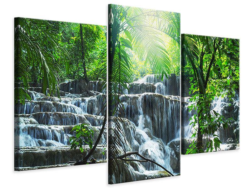 Leinwandbild 3-teilig modern Wasserfall Agua Azul