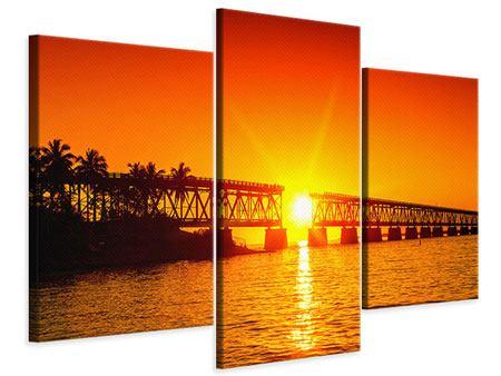 Leinwandbild 3-teilig modern Sonnenuntergang an der Brücke
